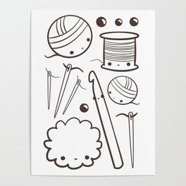 crochet cute - kawaii craft supplies Poster