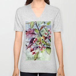 Branch With Blossoms Watercolor Unisex V-Neck