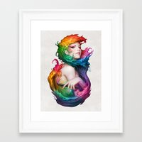 pen Framed Art Prints featuring Angel of Colors by Artgerm™