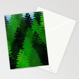 Green Pine Trees Stationery Cards