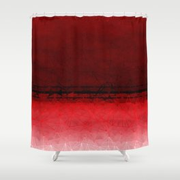 Deep Ruby Red Ombre with Geometrical Patterns Shower Curtain