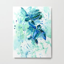 Turquoise Blue Sea Turtles in Ocean Metal Print