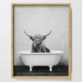 Highland Cow in a Vintage Bathtub (bw) Serving Tray