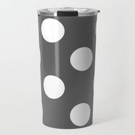 Large Polka Dots - White on Dark Gray Travel Mug