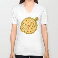 vinyl V-neck T-shirts featuring Pizza Vinyl by Fathi