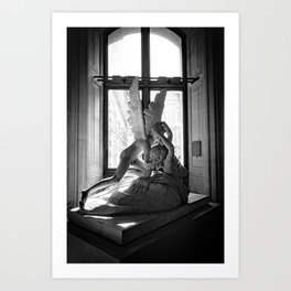 Psyche Revived by Cupid's Kiss, Louvre Museum, Paris, France black and white photograph Art Print