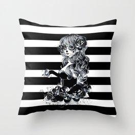 Black & White Sugar Skull Girl Throw Pillow
