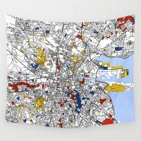 dublin Wall Tapestries featuring Dublin by Mondrian Maps