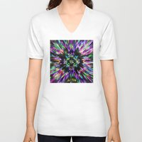 tie dye V-neck T-shirts featuring Colorful Tie Dye Abstract by Phil Perkins