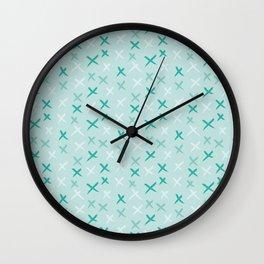 X Pattern - Mixed Mint Wall Clock