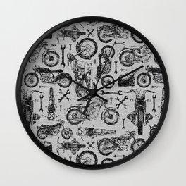 Vintage Motorcycle Pattern Wall Clock