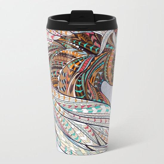 Brown Ethnic Elephant Metal Travel Mug