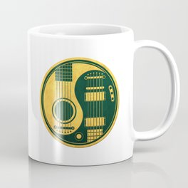 Vintage Green and Yellow Acoustic Electric Guitars Yin Yang Coffee Mug