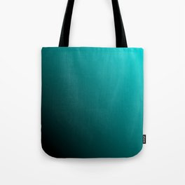 Gradient Aqua and Black Tote Bag