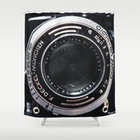 vintage camera Shower Curtains featuring Camera by Katherine Ridgley