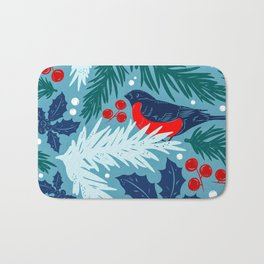 Christmas Tree With Bird and Holly Pattern Bath Mat