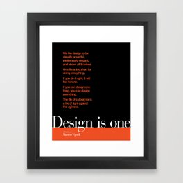 Design is One — Honoring Massimo Vignelli Framed Art Print