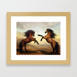 The Dueling Stallions Framed Art Print