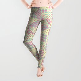 Yellow, Green & Pink Patchwork Pattern with Triangles Leggings