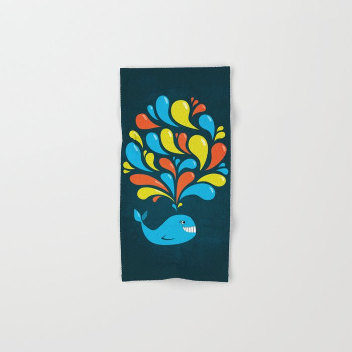 Dark Colorful Happy Cartoon Whale Hand & Bath Towel
