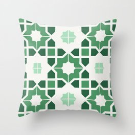 Morrocan tiles in green Throw Pillow