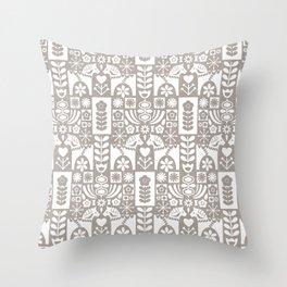 Swedish Folk Art - Warm Gray Throw Pillow