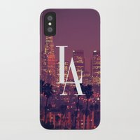 dodgers iPhone & iPod Cases featuring Downtown LA Vintage Skyline Typography by RexLambo