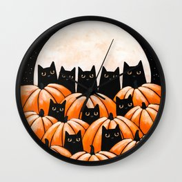 Black Cats in the Pumpkin Patch Wall Clock