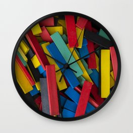 Colorful wooden rectangles. Colorful wood block background. Creativity Wall Clock