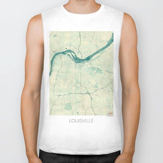 Louisville Map Blue Vintage Biker Tank