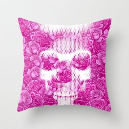 No Bed of Roses II / Halftone skull and rose design Throw Pillow