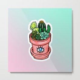 Cactus Pot Plant Metal Print