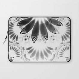 Silver Shikoba - Beautiful Black on White Fractal Paisley Forming Feathered Wings Laptop Sleeve