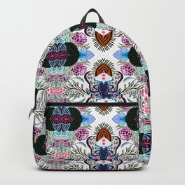 Whimsical tribal mask abstract design Backpack