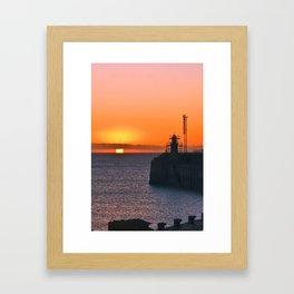 Pier Sunrise with Lighthouse Framed Art Print