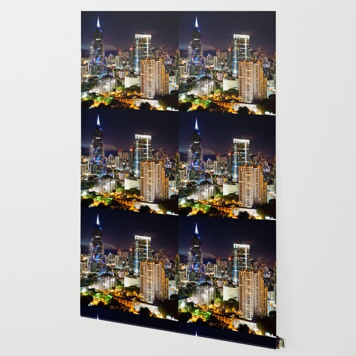 Cityscape at Night with Moon Wallpaper