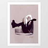 legolas Art Prints featuring hipster!Legolas by silvertales
