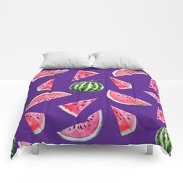 Watermelon Pattern with Purple Background Comforters