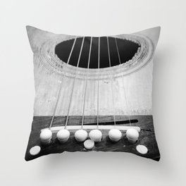 Wooden Acoustic Guitar in Black and White Throw Pillow