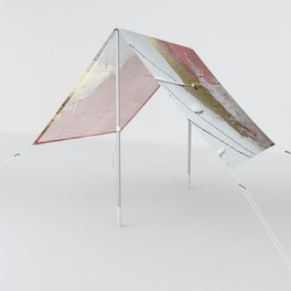 Darling: a minimal, abstract mixed-media piece in pink, white, and gold by Alyssa Hamilton Art Sun Shade