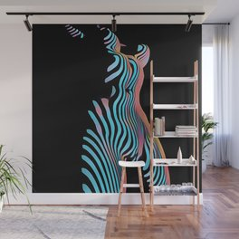 5278s-MAK Zebra Striped Nude Composition Style Sensual Curves Abstract Art Wall Mural