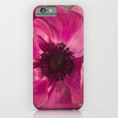 Pink Anemone on Linen Texture Slim Case iPhone 6s
