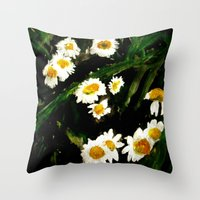 daisies Throw Pillows featuring Daisies by James Peart