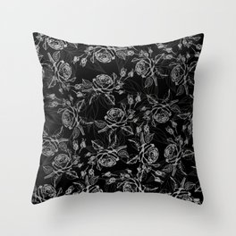 Elegant black faux silver vintage rose floral Throw Pillow