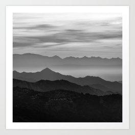 Mountains mist. BN Art Print
