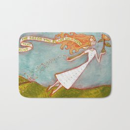Flying Girl Lets Go, or Trust That The Seeds You Plant Will Grow Bath Mat