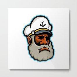 Black Sea Captain or Skipper Mascot Metal Print