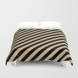 Tan Brown and Black Diagonal RTL Stripes Duvet Cover