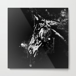 horse splatter watercolor black white Metal Print