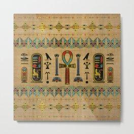 Egyptian Cross - Ankh Ornament on papyrus Metal Print